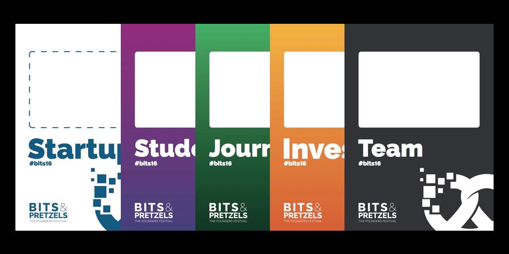 Bits & Pretzels 2016 Namensschild: Kategorien